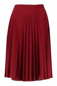 Womens Petite Slinky Pleated Midi Skirt - red - 14, Red