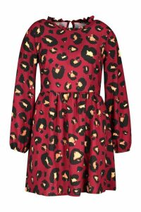 Womens Plus Leopard Print High Ruffle Neck Smock - red - 16, Red