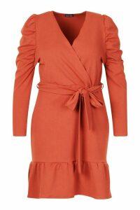 Womens Plus Ruffle Puff Sleeve Wrap Dress - orange - 20, Orange
