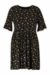 Womens Plus Ditsy Print Floral Smock Dress - black - 20, Black