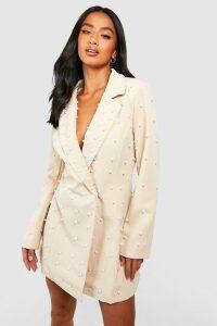 Womens Petite Pearl Detail Blazer Dress - Beige - 10, Beige