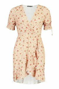 Womens Ditsy Floral Wrap Ruffle Tea Dress - beige - 20, Beige