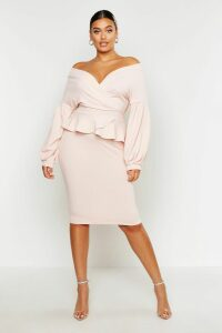 Womens Plus Off The Shoulder Wrap Peplum Dress - pink - 20, Pink
