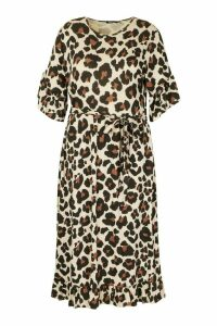 Womens Plus Leopard Ruffle Tie Waist Midi Smock Dress - brown - 18, Brown