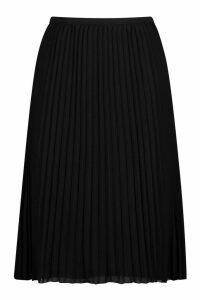 Womens Plus Chiffon Pleated Midi Skirt - black - 24, Black