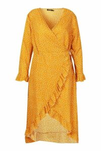 Womens Plus Polka Dot Ruffle Wrap Midi Dress - yellow - 24, Yellow