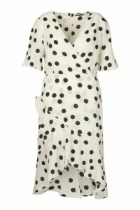 Womens Plus Polka Dot Tie Waist Ruffle Midi Dress - white - 18, White