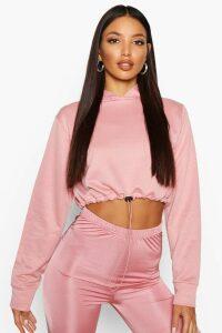 Womens Drawcord Cropped Hoodie - pink - 14, Pink