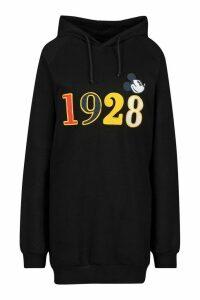 Womens Disney Embroidered Mickey Hoodie Dress - black - 8, Black
