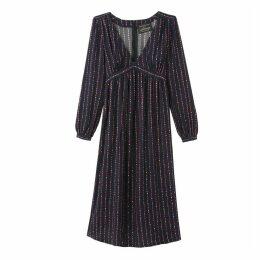 Printed Midi Tie-Waist Dress with Long Sleeves