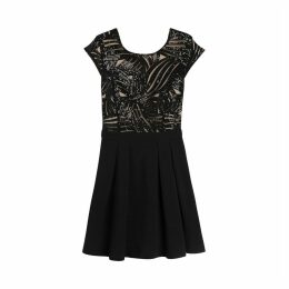 Cherry Short Sequined Skater Dress with Short Sleeves