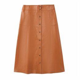 Leather Button Down Midi Skirt