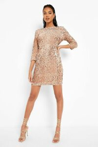 Womens Sequin Long Sleeve Bodycon Dress - Beige - 16, Beige