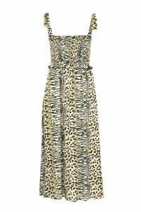 Womens Woven Leopard Print Shirred Sundress - cream - M, Cream