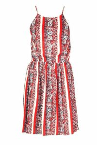 Womens Boho Paisley Print Strappy Sundress - red - M, Red
