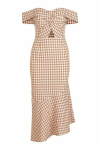 Womens Anabel Asymmetric Gingham Midi Dress - cumin - 6, Cumin