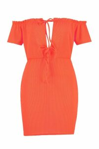 Womens Lettuce Edge Tie Front Rib Mini Dress - orange - 14, Orange