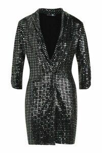Womens Metallic Blazer Mini Bodycon Dress - grey - 12, Grey
