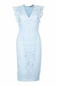 Womens Lace Ruffle Sleeve Detail Midi Dress - blue - 6, Blue