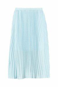 Womens Woven Polka Dot Pleated Midi Skirt - blue - 6, Blue