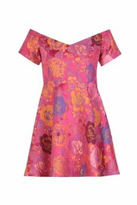 Womens Jacquard Off the Shoulder A Line Dress - Pink - 12, Pink