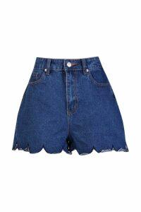Womens Scallop Hem Denim Mom Shorts - blue - 6, Blue
