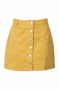 Womens Button Through Cord Mini Skirt - yellow - 14, Yellow