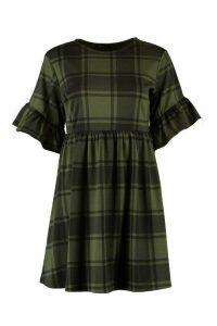 Womens Tartan Frill Sleeve Smock Dress - green - 8, Green