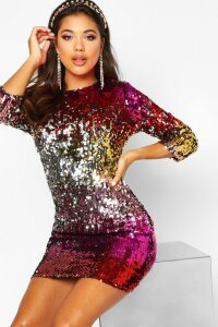 Womens Boutique Multi Sequin Bodycon Dress - red - 14, Red