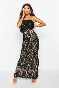 Womens Boutique Scallop Lace Bandeau Maxi Dress - black - 14, Black