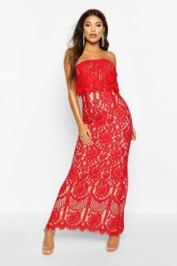 Womens Boutique Scallop Lace Bandeau Maxi Dress - red - 14, Red