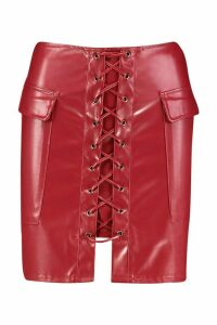 Womens Trixie Leather Look Lace Up Pocket Side Skirt - red - 16, Red
