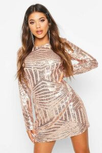 Womens Boutique Sequin Mesh Bodycon Dress - pink - 14, Pink