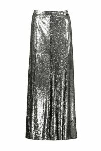 Womens Boutique Paola Floor Sweeping Sequin Maxi Skirt - grey - 16, Grey