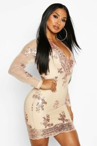 Womens Boutique Sequin Print Mesh Bodycon Dress - metallics - 14, Metallics
