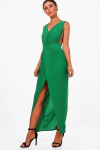 Womens Petite Plunge Drape Maxi Dress - green - 14, Green