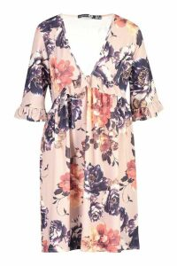 Womens Tall Ditsy Floral Ruffle Smock Dress - pink - 16, Pink