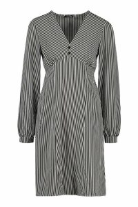 Womens Tall Button Through Stripe Shirt Dress - black - 16, Black