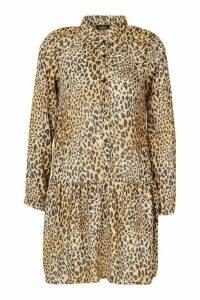 Womens Tall Leopard Print Woven Smock Dress - multi - 16, Multi
