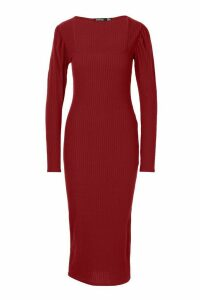 Womens Tall Puff Sleeve Square Neck Rib Bodycon Dress - red - 16, Red