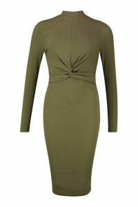 Womens Tall Twist Front Rib Bodycon Dress - green - 16, Green