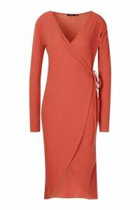 Womens Tall Wrap Rib Midi Dress - orange - 16, Orange