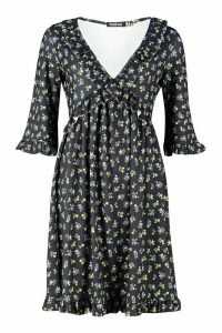 Womens Tall Ruffle Plunge Floral Smock Dress - black - 16, Black