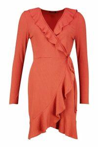 Womens Tall Ruffle Rib Wrap Tea Dress - orange - 16, Orange