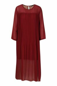 Womens Tall Pleated Woven Midi Dress - red - 16, Red