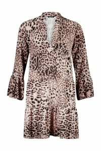 Womens Tall Leopard Print Tiered Smock Dress - multi - 14, Multi