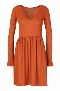 Womens Tall Rib Plunge Frill Sleeve Smock Dress - orange - 10, Orange