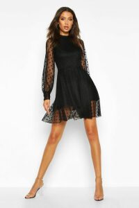 Womens Tall Dobby Mesh Skater Dress - black - 16, Black