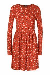 Womens Tall Ditsy Floral Smock Dress - orange - 12, Orange