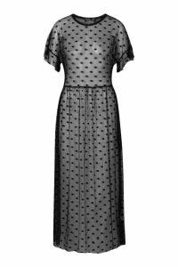Womens Tall Dobby Mesh Midi Dress - black - 14, Black